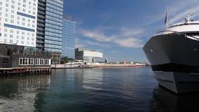 Tourist ship in harbor. BOSTON,MASSACHUSETTS,USA - JULY 15,2016:Tourist ship in harbor. Boston tourism annually brings about 8 billion dollars stock footage