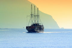 Tourist ship Month Athos Greece Stock Photos