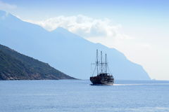Tourist ship Month Athos Greece Royalty Free Stock Images
