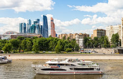 Tourist ship on the Moscow river Royalty Free Stock Photo