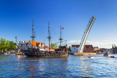 Tourist ship on the Motlawa river in Gdansk Royalty Free Stock Images