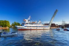 Tourist ship on the Motlawa river in Gdansk Royalty Free Stock Photo