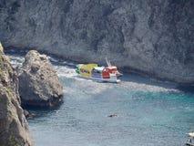 Tourist Ship at the Picturesque Coast of Izu Peninsula stock photo