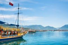 Tourist ship in the port of Alanya, Turkey Stock Photo