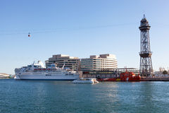 The tourist ship in the port of Barcelona Stock Photography