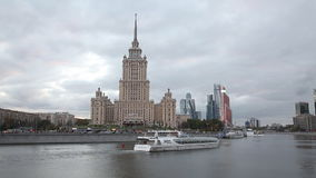 Tourist ship sails on the Moscow river in the evening stock footage