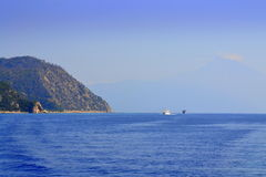Tourist ships Month Athos Greece Stock Photography