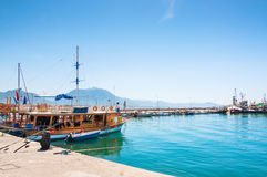 Tourist ships in the port of Alanya, Turkey. Stock Images