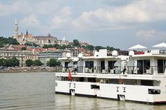 Tourist ships on the river Danube Stock Photo