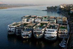 Tourist ships at river nile Royalty Free Stock Images