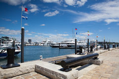 Tourist ships and yachts in harbor. Boston tourism annually brin Stock Images