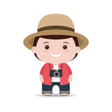 Tourist in shirt and hat with camera isolated white background. Royalty Free Stock Photos