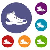 Tourist shoe icons set Stock Photo