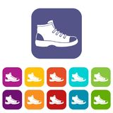Tourist shoe icons set Royalty Free Stock Photo