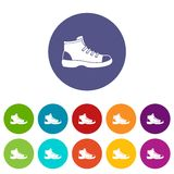 Tourist shoe set icons Stock Image