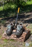 Tourist shoes dry on the log in which the ax is stuck, Altai, Russia stock image