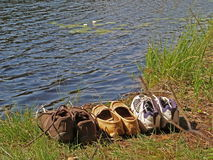 Tourist shoes and water lilly Stock Images