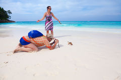 Tourist shooting crab photo Stock Images