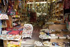 Market Tourist Shop. A tourist shop in the market of the old city of Jerusalem, containing a variety of merchandise such as necklaces, pillow cases, beads