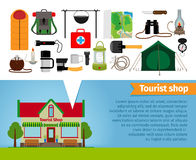 Tourist shop. Tourism equipment tools for hiking Royalty Free Stock Image