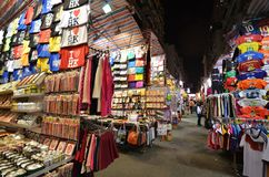 Tourist shops for bargain priced fashion and casual wear in Mong Royalty Free Stock Photography