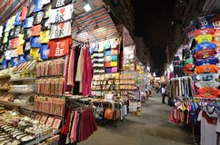 Tourist shops for bargain priced fashion and casual wear in Mong Royalty Free Stock Images