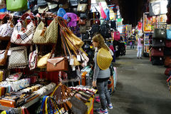 Tourist shops for bargain priced fashion and casual wear in Mong Stock Photo