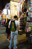 Tourist shops for bargain priced fashion and casual wear in Mong Stock Image
