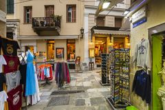 Tourist shops in Plaka, Athens. Athens, Greece - May 19, 2018: Tourist shops in the main shopping district of Plaka neighbourhood in Athens, Greece Stock Image