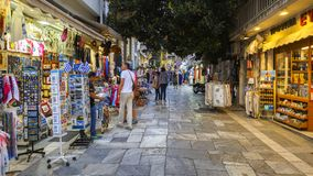 Tourist shops in Plaka, Athens. Athens, Greece - May 19, 2018: Tourist shops in the main shopping district of Plaka neighbourhood in Athens, Greece Royalty Free Stock Photo