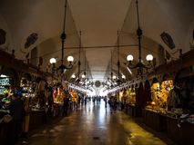 Tourist shops in Sukiennice Cloth Hall royalty free stock image