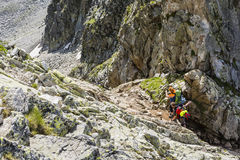 Tourist shows next destination mountain hiking. Stock Photos