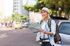 Tourist sidewalk urban. Tourist standing on the sidewalk of an urban street with map Stock Images