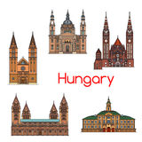 Tourist sight of Hungary thin line icon set. Szeged town hall, Votive Church and Cathedral of Our Lady of Hungary, St. Stephen Basilica, Roman Catholic Diocese Royalty Free Stock Photos