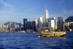 Tourist sightseeing boat in Hong Kong Harbor Royalty Free Stock Image