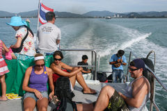 The tourist in sightseeing boat in phi phi island,thailand Royalty Free Stock Image