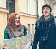 Tourist Sightseeing The City. Happy Tourist Couple Sightseeing The City Stock Photo