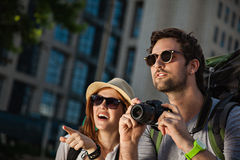 Tourist Sightseeing City. Two Young Tourist Sightseeing City Royalty Free Stock Photos