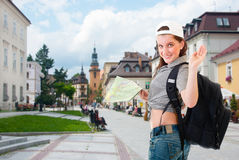 Tourist sightseeing with a map Stock Image