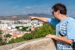 Tourist on a sightseeing-tour of the city of Malaga Royalty Free Stock Photography
