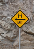 Tourist sign exit on yellow Stock Photo