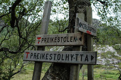 Tourist sign in the mountains of Norway on the way to Preikestolen Royalty Free Stock Photography