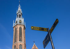 Tourist sign near the Jozef cathedral in Groningen Royalty Free Stock Photo