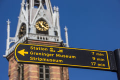 Tourist sign near the Jozef cathedral in Groningen. Netherlands Stock Photo