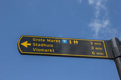 Tourist sign pointing to the main squares in Groningen Stock Image