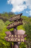 Tourist sign post showing various destinations Stock Photography