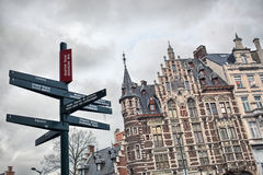 Tourist signpost in center of Brussels, Belgium Stock Photography