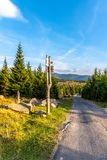 Tourist signpost in the middle of mountain landscape, Giant Mountains, Krkonose, Czech Republic.  royalty free stock photos