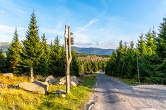 Tourist signpost in the middle of mountain landscape, Giant Mountains, Krkonose, Czech Republic.  stock images