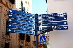 Tourist signpost, Valletta. Stock Photography